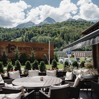 The restaurant «Gostidze» at the resort «Krasnaya Polyana» (ex. «Gorki Gorod») — mountain view