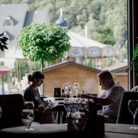 The restaurant «Gostidze» at the resort «Krasnaya Polyana» (ex. «Gorki Gorod») — table by the window